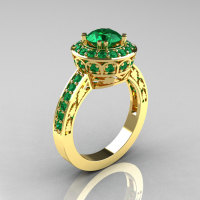Classic 18K Yellow Gold 1.0 Carat Emerald Wedding Ring Engagement Ring R199-18KYGEM-1