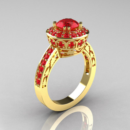 Classic 14K Yellow Gold 1.0 Carat Rubies Wedding Ring Engagement Ring R199-14KYGR-1