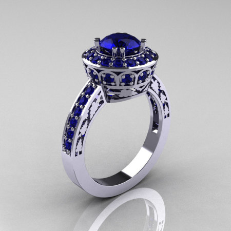 Classic 10K White Gold 1.0 Carat Blue Sapphire Wedding Ring Engagement Ring R199-10KWGBS-1