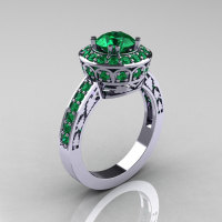 Classic 10K White Gold 1.0 Carat Emerald Wedding Ring Engagement Ring R199-10KWGEM-1