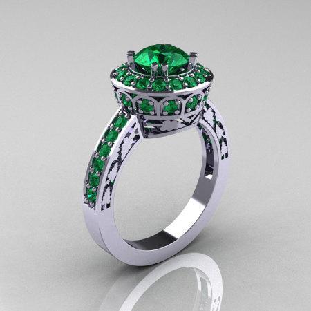 Classic 10K White Gold 1.0 Carat Emerald Wedding Ring Engagement Ring R199-10KWGEM-1