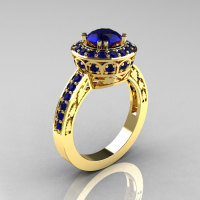 Classic 14K Yellow Gold 1.0 Carat Blue Sapphire Wedding Ring Engagement Ring R199-14KYBS-1