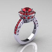 Classic 14K White Gold 1.0 Carat Rubies Wedding Ring Engagement Ring R199-14KWGR-1