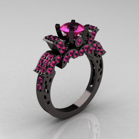French 14K Black Gold 1.0 Carat Pink Sapphire Wedding Ring Engagement Ring R198-14KBGPSS-1