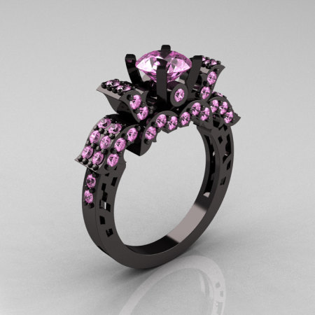 French 14K Black Gold Light Pink Sapphire Wedding Ring Engagement Ring R198-14KBGLPSS-1