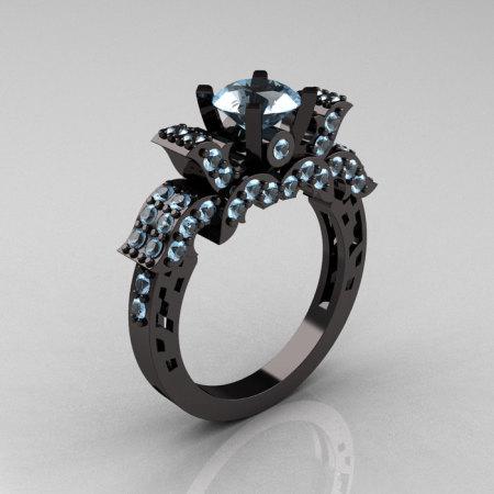 French 14K Black Gold Aquamarine Wedding Ring Engagement Ring R198-14KBGAQ-1