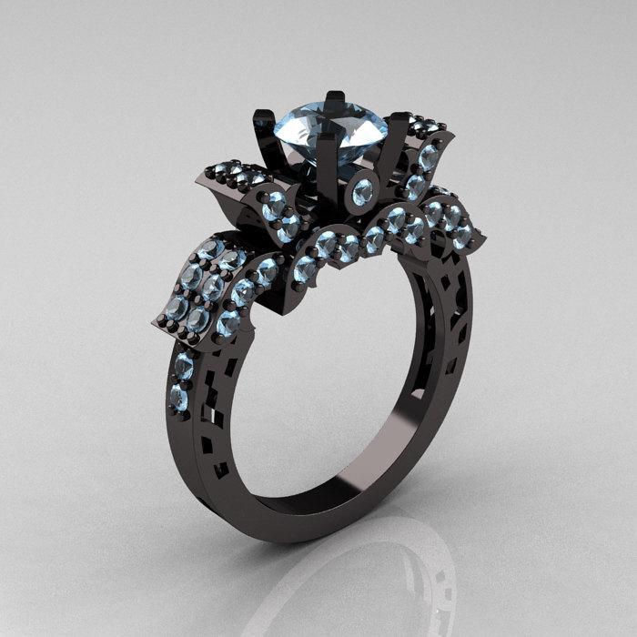 French 14k Black Gold Aquamarine Wedding Ring Engagement R198 14kbgaq 1