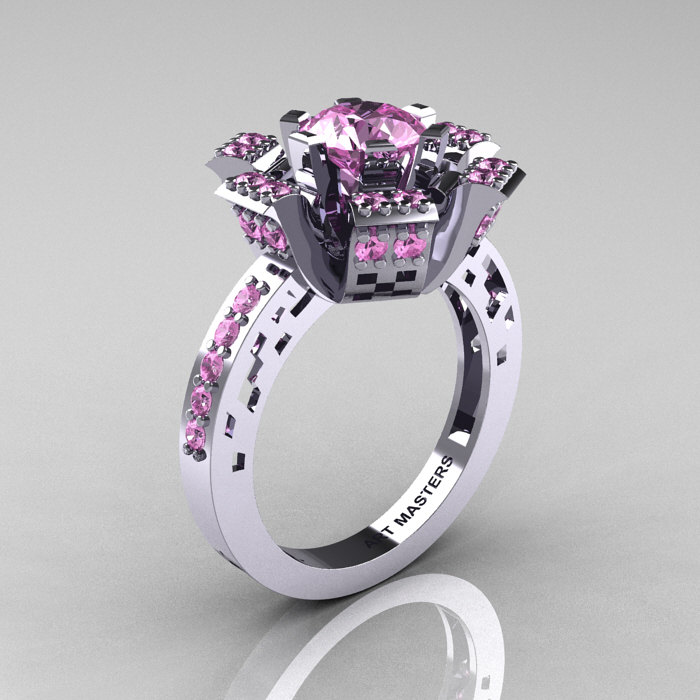Modern French 14K White Gold Light Pink Sapphire Wedding Ring Engagement Ring