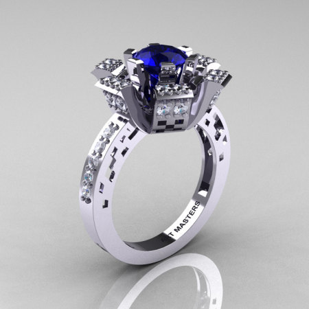 Modern French 14K White Gold Blue Sapphire Diamond Wedding Ring Engagement Ring R224-14KWGDBS-1