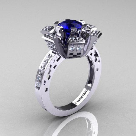 Modern French 14K White Gold Blue Sapphire Diamond Wedding Ring Engagement Ring R224-14KWGDBS-1