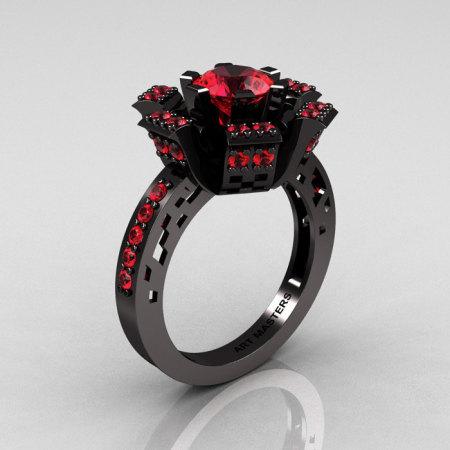 Modern French 14K Black Gold Rubies Wedding Ring Engagement Ring R224-14KBGR-1