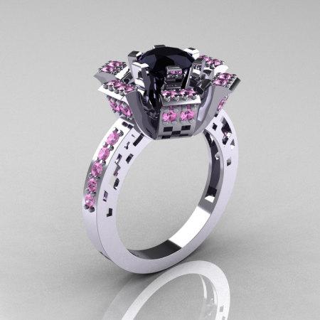 Modern French 14K White Gold Black Diamond Light Pink Sapphire Wedding Ring Engagement Ring R224-14KWGLPSBD-1