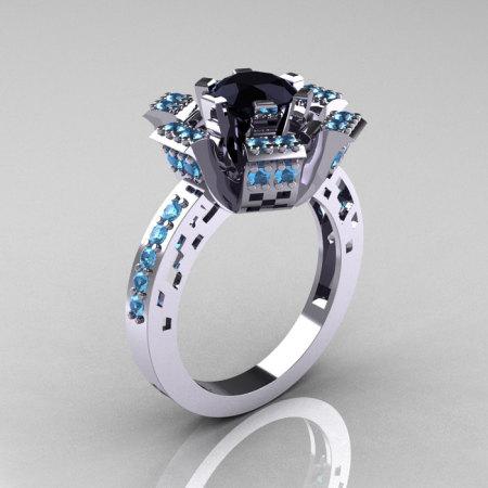 Modern French 14K White Gold Black Diamond Blue Topaz Wedding Ring Engagement Ring R224-14KWGBTBD-1