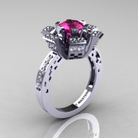 Modern French 14K White Gold Pink Sapphire Diamond Wedding Ring Engagement Ring R224-14KWGDPS-1