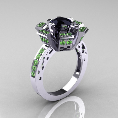 Modern French 10K White Gold Black Diamond Green Topaz Wedding Ring Engagement Ring R224-10KWGBTBD-1