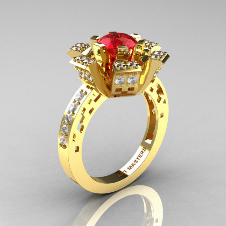 Modern French 14K Yellow Gold Ruby Diamond Wedding Ring Engagement Ring R224-14KYGDR-1