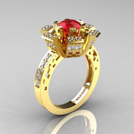 Modern French 14K Yellow Gold Ruby Diamond Wedding Ring Engagement Ring R224-14KYGDR-1