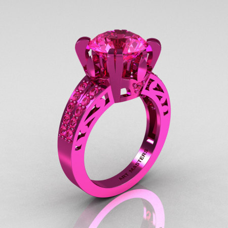 Modern Vintage 14K Pink Gold 3.0 CT Pink Sapphire Wedding Ring Engagement Ring R302-PGPS-1
