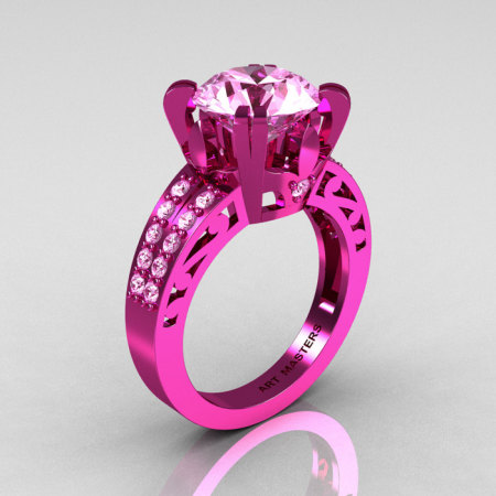Modern Vintage 14K Pink Gold 3.0 CT Light Pink Sapphire Wedding Ring Engagement Ring R302-PGLPS-1
