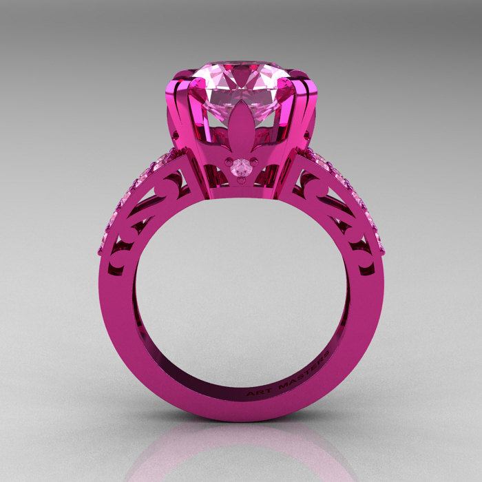 Modern Vintage 14K Pink Gold 3 0 CT Light Pink Sapphire Wedding Ring Engageme