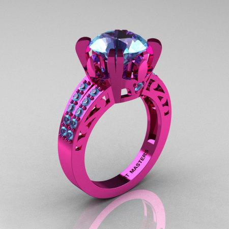 Modern Vintage 14K Pink Gold 3.0 CT Blue Topaz Wedding Ring Engagement Ring R302-PGBT-1