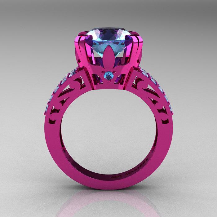 modern vintage 14k pink gold 30 ct blue topaz wedding ring engagement ring r302 pgbt - Topaz Wedding Ring