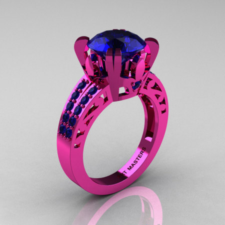 Modern Vintage 14K Pink Gold 3.0 CT Blue Sapphire Wedding Ring Engagement Ring R302-PGBS-1