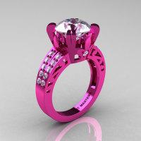 Modern Vintage 14K Pink Gold 3.0 CT White Sapphire Wedding Ring Engagement Ring R302-PGWS-1