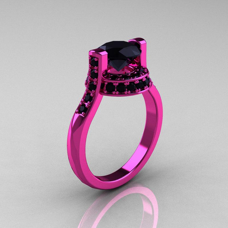Modern Italian 14K Pink Gold 1 5 CT Black Diamond Wedding Ring Engagement Rin