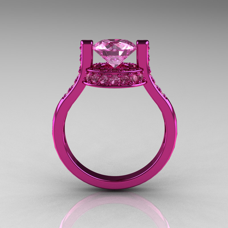 Modern Italian 14K Pink Gold 1 5 CT Light Pink Sapphire Wedding Ring Engageme