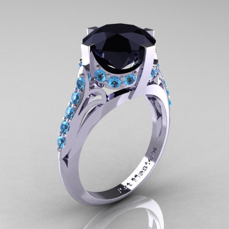 French Vintage 14K White Gold 3.0 CT Black Diamond Blue Topaz Bridal Solitaire Ring Y306-14KWGBTBD-1