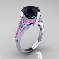 French Vintage 14K White Gold 3.0 CT Black Diamond Light Pink Sapphire Bridal Solitaire Ring Y306-14KWGLPSBD-1