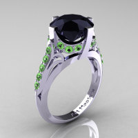 French Vintage 14K White Gold 3.0 CT Black Diamond Green Topaz Bridal Solitaire Ring Y306-14KWGGTBD-1