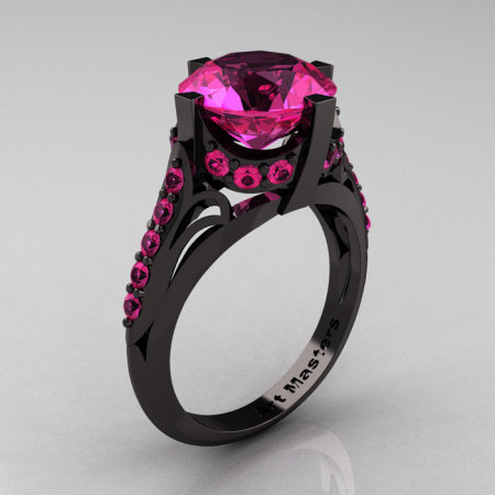 French Vintage 14K Black Gold 3.0 CT Pink Sapphire Bridal Solitaire Ring Y306-14KBGPS-1