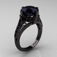 French Vintage 14K Black Gold 3.0 CT Black Diamond Bridal Solitaire Ring Y306-14KBGBD-1
