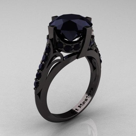 French Vintage 14K Black Gold 3.0 CT Black Diamond Bridal Solitaire Ring Y306-14KBGBD-1