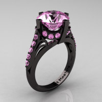 French Vintage 14K Black Gold 3.0 CT Light Pink Sapphire Bridal Solitaire Ring Y306-14KBGLPS-1