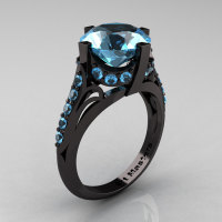 French Vintage 14K Black Gold 3.0 CT Blue Topaz Bridal Solitaire Ring Y306-14KBGBT-1