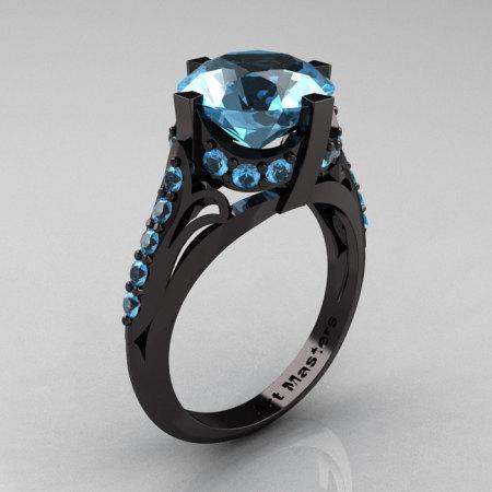 French Vintage 14K Black Gold 3.0 CT Blue Topaz Bridal Solitaire Ring Y306-14KBGBT-1