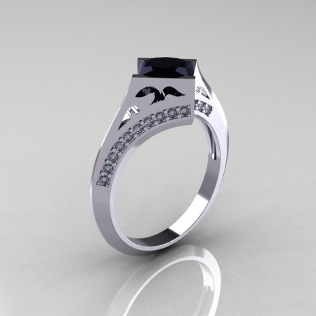Modern French 14K White Gold 1.23 CT Princess Black and White Diamond Engagement Wedding Ring R176-14WGDBD-1