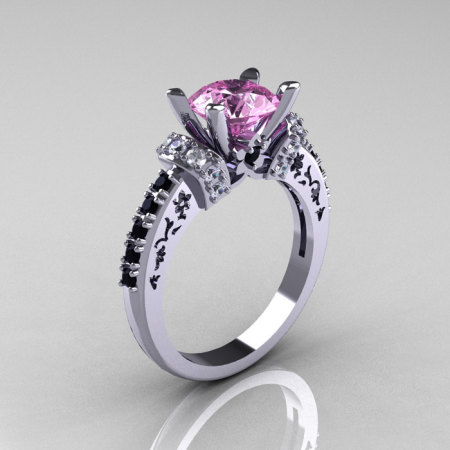 Modern Armenian Classic 18K White Gold 1.5 Carat Light Pink Sapphire Black and White Diamond Solitaire Wedding Ring R137-18WGDBDLPS-1
