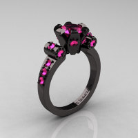 Modern Antique 14K Black Gold 1.0 Carat Pink Sapphire Flip Accent Bridal Solitaire Ring R227-14KBGPS-1