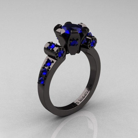 Modern Antique 14K Black Gold 1.0 Carat Blue Sapphire Flip Accent Bridal Solitaire Ring R227-14KBGBS-1