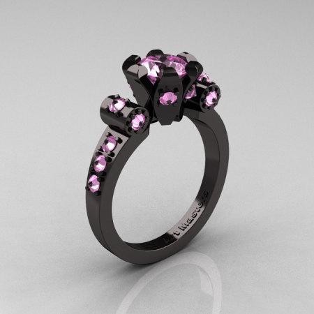 Modern Antique 14K Black Gold 1.0 Carat Ligh Pink Sapphire Flip Accent Bridal Solitaire Ring R227-14KBGLPS-1