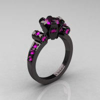 Modern Antique 14K Black Gold 1.0 Carat Amethyst Flip Accent Bridal Solitaire Ring R227-14KBGAM-1