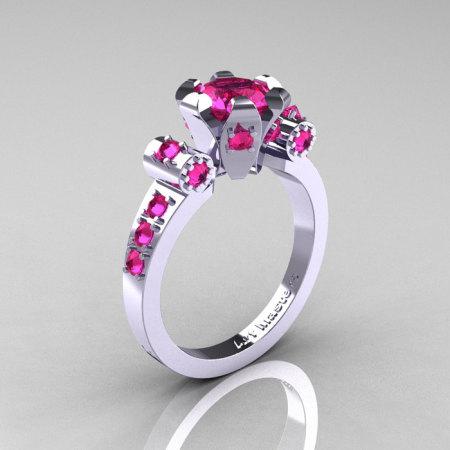 Modern Antique 14K White Gold 1.0 Carat Pink Sapphire Flip Accent Bridal Solitaire Ring R227-14KWGPS-1