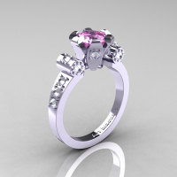 Modern Antique 14K White Gold 1.0 Carat Light Pink and White Sapphire Flip Accent Bridal Solitaire Ring R227-14KWGWSLPS-1