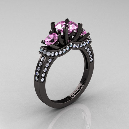 French 14K Black Gold Three Stone Light Pink Sapphire Diamond Wedding Ring Engagement Ring R182-14KBGDLPS-1