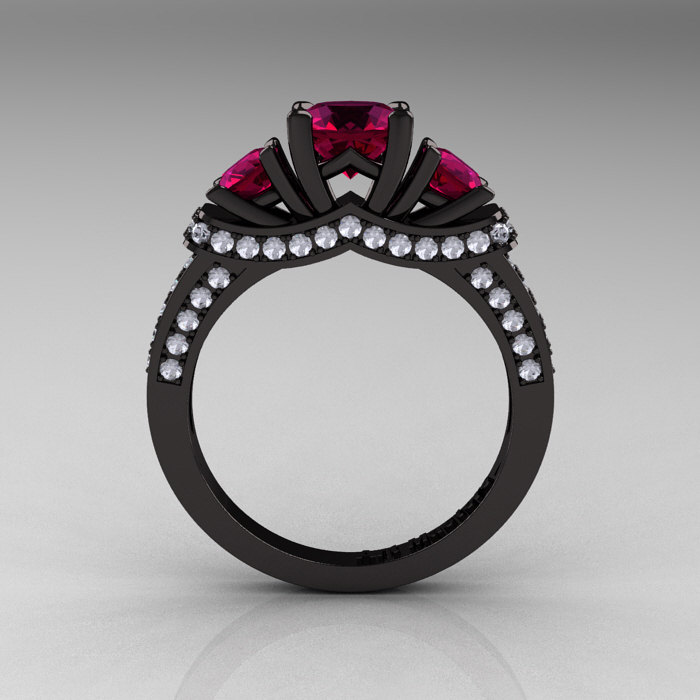 French 14K Black Gold Three Stone Raspberry Red Garnet Diamond Wedding Ring E