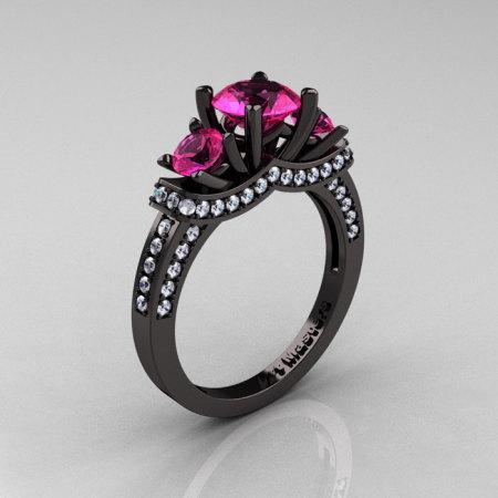 French 14K Black Gold Three Stone Pink Sapphire Diamond Wedding Ring Engagement Ring R182-14KBGDPS-1